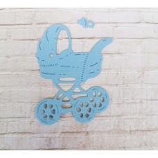 """Вырубка """"Детская коляска с соской"""" 3.6 * 5 см. Цвет голубой."""