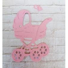 """Вырубка """"Детская коляска с соской"""" 3.6 * 5 см. Цвет розовый."""
